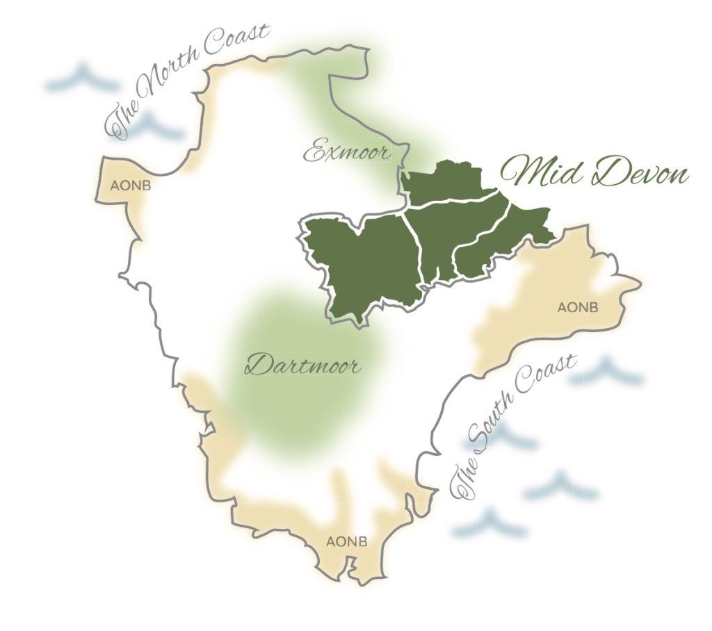 Map showing Mid Devon at the centre of Devon