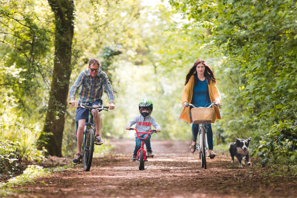 Family Cycling along the Railway Line