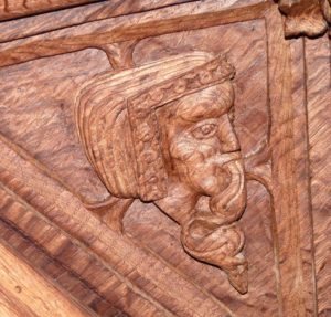 Tudor carved cartoon of the inverted lady