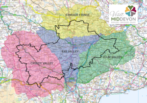 Map of Mid Devon showing Advertising Boundary