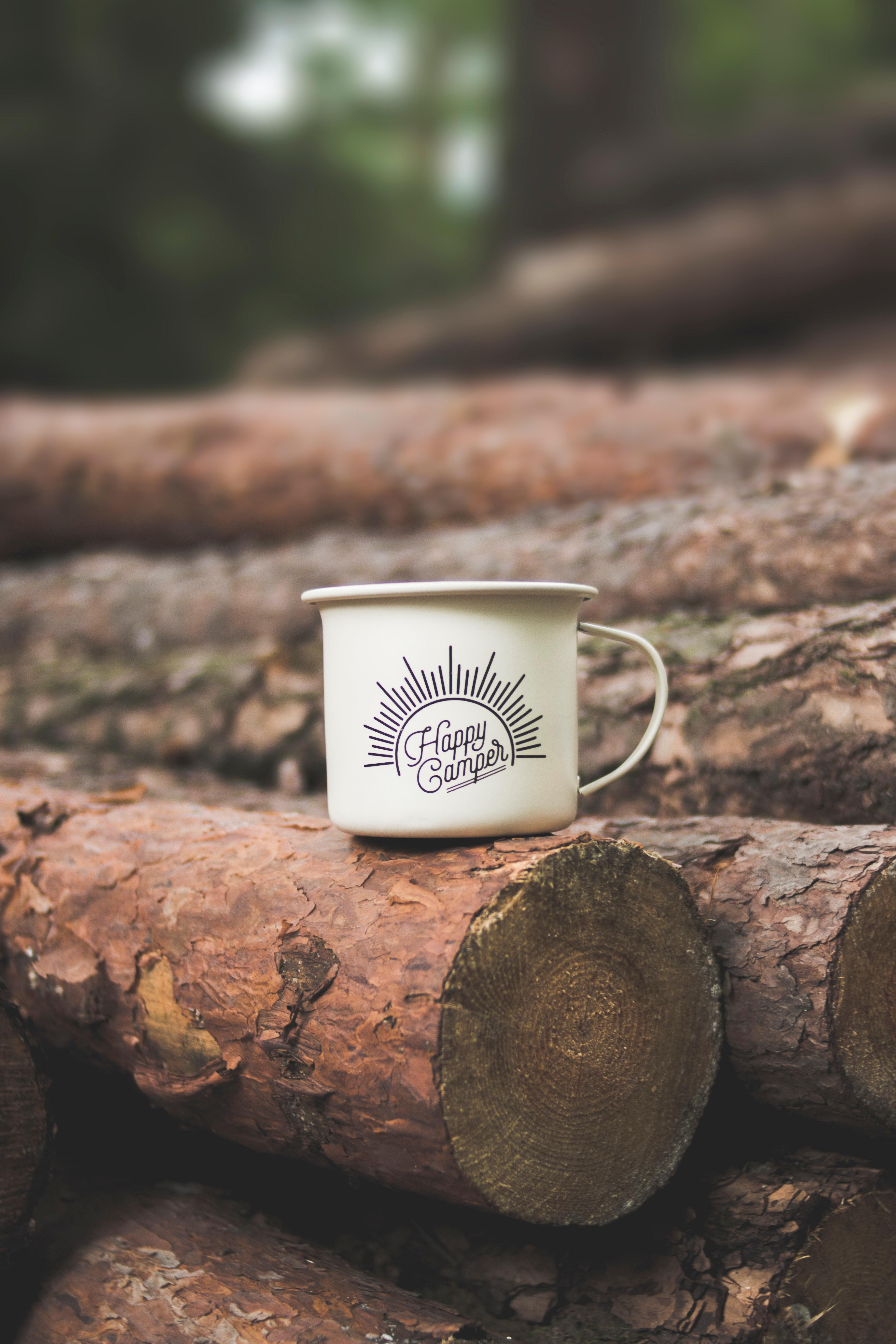 mug on a log