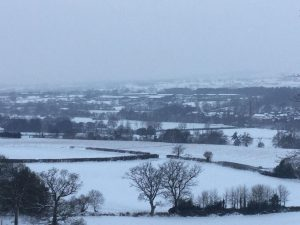 View of Uffculme Village in the Snow