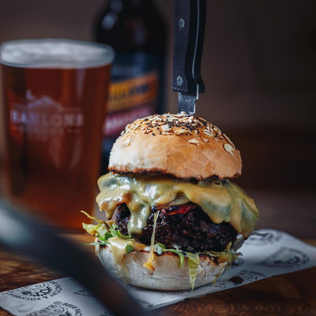 A burger and a pint of ale